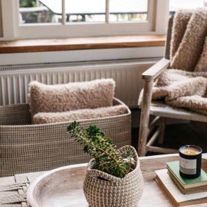 Elba Seagrass Basket White Mini